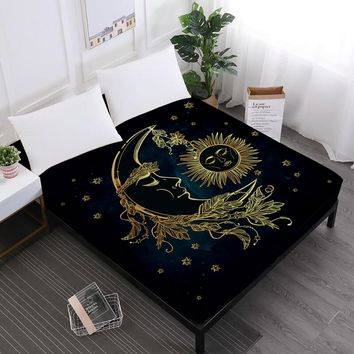 Golden Moon Star Print Bed Sheets Mandala Fitted Sheets King Queen Crown Print Sheet Black Soft Mattress Cover Elastic Band D35
