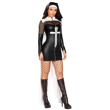 Sexy Nun Gone Bad Mini Dress with Attached Cape