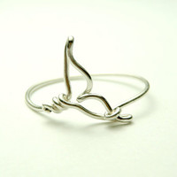 Whale tail wire ring  handmade sterling silver wire 925 by keoops8