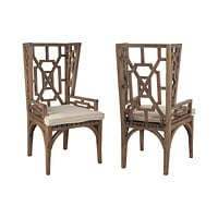 Teak Wingback Chair Cushion in Cream