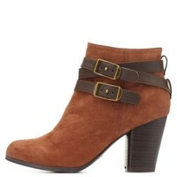 Qupid Belted Chunky Heel Booties by Charlotte Russe - Rust