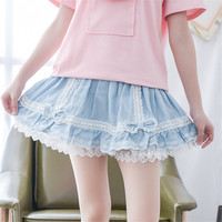 Mori Girl Summer 2016 New Women's Cute Lace Skirts Girl Bow  Pleated Elastic Waist Sequin Floral Kawaii MiNi Summer Skirt Lolita