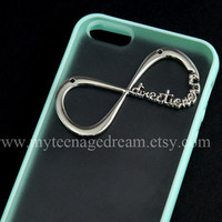 iphone 5 case, One Direction mint green side clear case, infinity case for iphone 5, directioner harry style