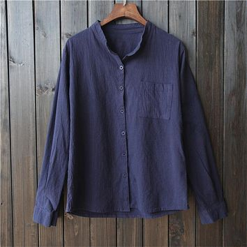 Women's Long-Sleeved Collar Shirt