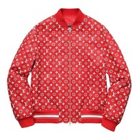 LOUIS VUITTON x SUPREME - LEATHER BASEBALL JACKET -