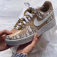 Dior X Nike Air Force One Fashion Casual Shoes