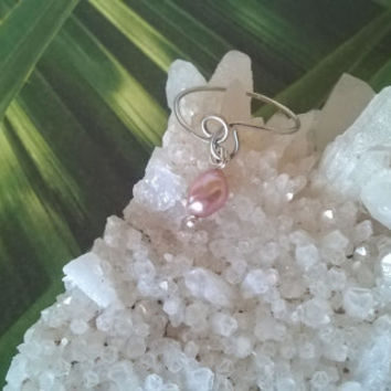 natural pink Freshwater Pearl Midi ring artisan wire wrapped stone ring June birthstone handmade gemstone jewelry crystal silver or gold