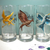The Hunger Games Trilogy drinking glasses Set of by calicoowls