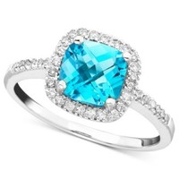 14k White Gold Ring, Blue Topaz (7-3/4 ct. t.w.) and Diamond Accent Ring | macys.com