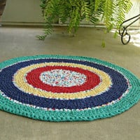 """Primary colors rag rug. Hand crochet, upcycled, recycled, repurposed, eco-friendly. 31"""" round."""