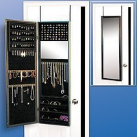 Over the Door, Wall Mounted Hanging Jewelry Closet Organizer Armoire with Mirror- Cherry