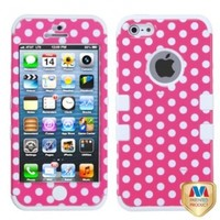 MYBAT IPHONE5HPCTUFFIM009NP Premium TUFF Case for iPhone 5 - 1 Pack - Retail Packaging - Dots(Pink/White)