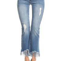 A Frayed Not High Waist Denim Jeans in Medium