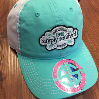 "Simply Southern ""Keep it Preppy"" Hat- Teal/White"