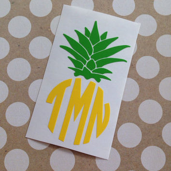 Pineapple Monogram | Monogrammed Pineapple | Pineapple Car Decal |