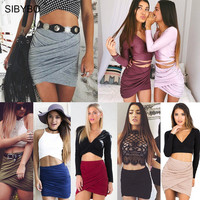 Skirts Womens 2016 Spring Autumn Street Fashion American Apparel High Waist Bandage Bodycon Cross Fold  Pencil Skirts 8 Colors