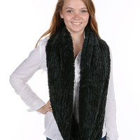 Green Crinkled Soft Fur Infinity Scarf