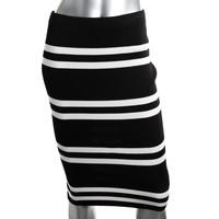Cameo Womens Knit Striped Pencil Skirt