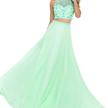 Harshori Womens Green Two Piece Beaded Crop Top & Long Skirt Prom Dress 2 Green