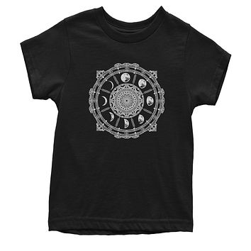 White Phases Of The Moon Compass Youth T-shirt