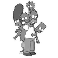 Simpsons poster Metal Sign Wall Art 8in x 12in Black and White
