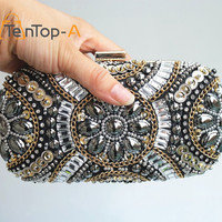 TenTop-A Women's Crystal Evening bags Retro Chain Beaded Clutch Bags Wedding Diamond Beaded Bags Rhinestone Small Shoulder Bags