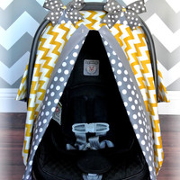 Mustard Yellow Chevron Grey Polka Dot Bows Carseat Canopy - The Canopy Shoppe, Baby Cover, Infant Carrier