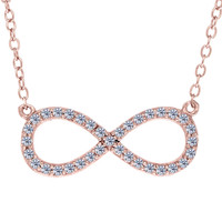 Infinity Sign Link With Cz Necklace In Rose Color Finish Sterling Silver - 18 Inches
