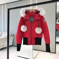 Moose knuckles down Women's men Fashion Casual Cardigan Jacket Coat fashion down jacket red