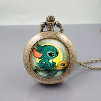 Stitch and Turtle Pocket Watch Locket Necklace,Lilo and Stitch Swimming Stitch,vintage pendant Pocket Watch Locket Necklace