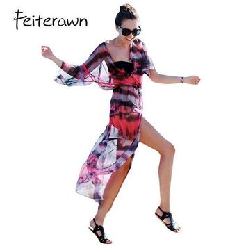 CREYONRZ Feiterawn 2017 Women Sexy Beach Swimwear 3/4 Sleeve Button and Slit Front Open Tie-dye Print Chiffon Dress Cover Up DL42157