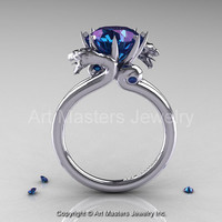 Art Masters Scandinavian 14K White Gold 3.0 Ct Russian Alexandrite Dragon Engagement Ring R601-14KWGAL