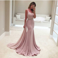 One Shoulder Pink Long Mermaid Prom Dresses