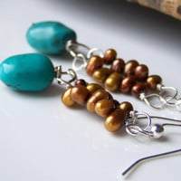 Etsy, Beaded Earrings:  Coffee Freshwater Pearl Earrings with Turquoise Nuggets on Silver, Etsy Jewelry, Turquoise, Gift