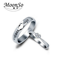 Real 925 Sterling Silver Rings CZ Diamond Heart Rings Matching Couple Promise Rings Matching Set Wedding Jewelry Moonso R160