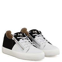 Giuseppe Zanotti Gz Double White Calf Leather And Black Suede Low-top