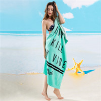 Fashion brand quality big size 100%cotton letter pattern blue color nice bath towel and beach towel