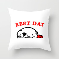Rest Day Pug Throw Pillow by Huebucket