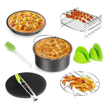 Air Fryer Accessories 8pcs for Gowise Phillips Cozyna Ninja All Standard Air Fryer(3.7QT-5.3QT)with Cake Barrel,Pizza Pan,Metal Holder,Skewer Rack,Silicone Mat,Silicone Brush,Food Tongs,Oven Mitts(Black) Black