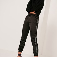 Missguided - Piped Side Satin Joggers Black