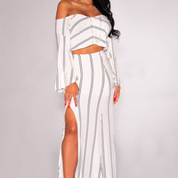 White Striped Off Shoulder Cutout Long Sleeve Maxi Slit Dress