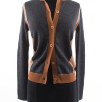 Brown and Grey Wool Blend Cardigan size:4