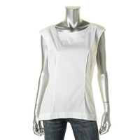 Lafayette 148 Womens Stretch Sleeveless Pullover Top