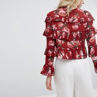 Missguided Rose Print Ruffle Blouse at asos.com