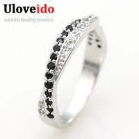 49% off Black 925 Silver Ring for Women Vintage Jewelry Fashion CZ Diamond Rings White Anel Bijoux Bague for Wedding Band Y022