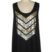 Sequin Chevron Tank - Black