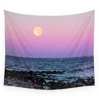 Society6 Full Moon On Blue Hour Wall Tapestry