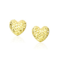 14K Yellow Gold Puffed Heart Earrings with Diamond Cuts - Style 1