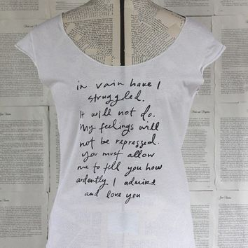 Mr Darcy Proposal scoop neck t shirt by Brookish on Etsy