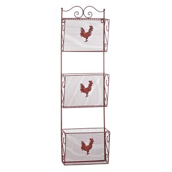 Home Decor Ideas Red Rooster Triple Basket Organizer